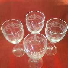 Dampierre by Cristal D'Arques-Durand Wine Glasses set of 4 clear etched 6 1/2""