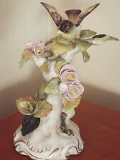 "RARE Vintage CORDEY 9 1/2"" Tall Porcelain Figurine Bird and Flowers"