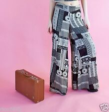 Topshop Vintage Wide Leg Trousers Palazzo Pants Size Med Black Grey Printed