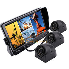 "7"" QUAD SPLIT SCREEN MONITOR 3x SIDE VIEW BACKUP CAMERA SYSTEM FOR TRUCK TRAILER"