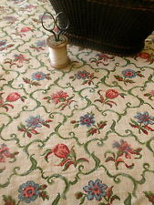Vintage French Country Meadow Floral Scroll Furnishings Fabric ~Rose Blue #2