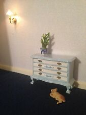 Dolls House Furniture:pretty blue and white chest of drawers   in 12th scale