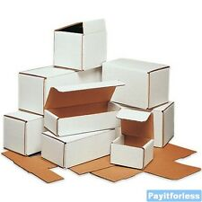 """4"""" x 3"""" x 3""""  White Lightweight Light Corrugated Mailer Mailing Boxes 50 Pc"""