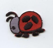 Iron On Embroidered Applique Patch Small Red Black Ladybug Lady Bug
