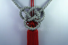 2 In 1 Chinese Red Kiku Knot Gray Kin Rope For Car Rearview Mirror Vip Charms