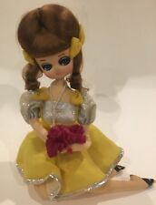 Vtg Big Eyed Bradley Doll Japanese Sitting Seated Mod 60's Yellow Silver Dress