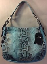 Claudia Firenze Leather Blue Snake Print Shoulder Bag Purse Handbag Italy NEW