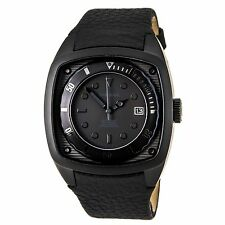 New Diesel Black Leather Date Men oversize Dress Watch 45x50mm DZ1492 $140