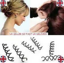 10 Womens Spiral Spin Screw Pin Hair Clip Twist Barette Black Bridal UK SELLER