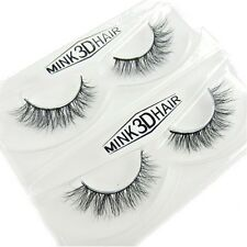 2Pairs 100% Siberian Mink Fur Luxurious Messy Cross Lashes 3D False Eyelashes