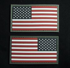 USA AMERICAN FLAG 3D PVC LEFT RIGHT REVERSE SHOULDER FULL COLOR VELCRO 2 PATCHES
