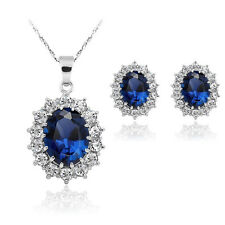 White Gold Plated  Crystal Jewelry Wedding Sapphire Sets Earring Necklace