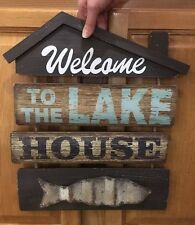 Welcome To The Lake House Vintage Style Coke Wood Cabin Decor Fish Fishing Hunt