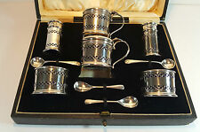 ART DECO HM SILVER PIERCED CRUET SET - SALT PEPPER MUSTARD - BLUE LINERS 1928