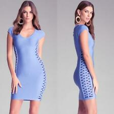 BEBE BLUE CRISS CROSS DETAIL BANDAGE DRESS NWT NEW $139 SMALL S