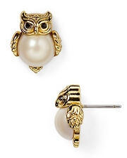 Auth New KATE SPADE In the Woods Owl Stud Earrings 12k Gold with Faux Pearl