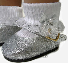 """Silver Glitter Shoes for 18"""" American Girl Doll Clothes High Quality Accessories"""