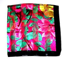 SCARF Large Square Hot Pink Red Green Gold Black Floral BIG BOLD FLOWERS