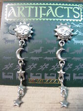 """JJ"" Jonette Jewelry Matte Silver Pewter SUN HALF MOON & STAR Earrings"