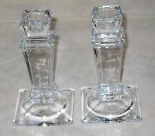 """Elegant Pair of 5.5"""" Square Lead Crystal Candle Holders for Taper Candles"""