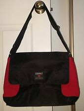 "NWOT ""Esprit Worlwide"" Black And Red Messenger Style Travel Bag"