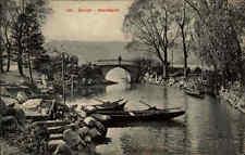 Zürich Schweiz s/w Postkarte ~1920/30 gelaufen Partie am Hornbach Brücke Boote