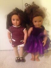 "Battat / Our Generation 18"" 2 doll lot Brown Hair/Brown Eyes"