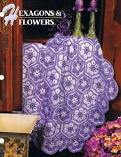 Hexagons & Flowers Annie's Attic Crochet Afghan Pattern Instructions