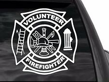 "Volunteer Firefighter decal 12""x12"" in white"