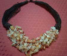 "RED AGATE GEMSTONE MULTI STRAND CHIP BEAD NECKLACE 16""ON BLACK CORDS -300 cts"