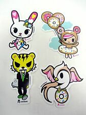 4 Lot TOKIDOKI Stickers Tiger Salaryman Bunny Dimanate Donutella Ballon Rondine