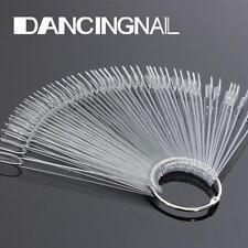 50X Tips Trasparente Ventaglio Espositori Smalti Gel Unghie Nail Art Display Fan