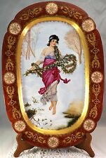Large Antique Porcelain Portrait Platter Serving Tray Signed 1895 Full Figure !