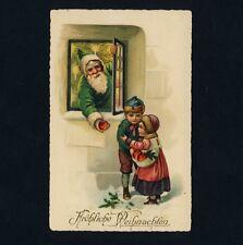 Weihnachten X-Mas SANTA WEIHNACHTSMANN Green Coat * Vintage 1920s PC Litho