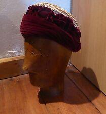 Ladies' 19th Century Straw and Burgundy Velvet Bonnet By Damon of Yeovil