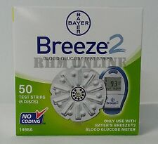 Bayer Breeze 2 Blood Glucose Test Strips, 100 Strips Made In US 2 Boxes of  50