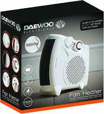 Daewoo White Small Quiet Portable 2Kw 2000W Electric Floor & Upright Fan Heater