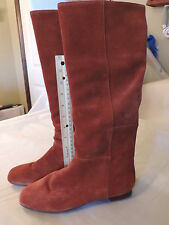 size 7.5 new in box tall redish brown suede slip on boot from Charles David