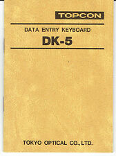 New Topcon DK-5 Data Entry Keyboard Instruction Manual