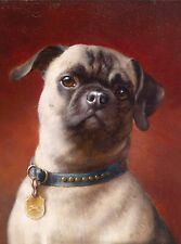 Pug Dog Blue Collar Head Study Dog Puppy Dogs Puppies Vintage Art Poster Print