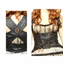 New Lip Service Step in Time Underbust Corset Steampunk Leather Vinyl Pleather