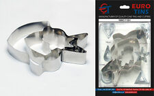 "Nemo Fish Shape Steel Cookie Cake Cutter 1"" deep set of 3 - By Euro Tins"