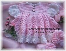"""CROCHET PATTERN for """"PINK ROSE"""" Baby Dress/Booties by REBECCA LEIGH---3/6M & 12M"""