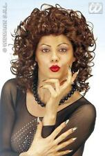 Ladies Brown Curly Wig Sexy 80'S Secretary Pop Star Dalla Fancy Dress