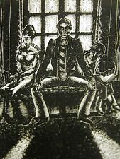 Lynd Ward 1930 SLAVE TRADER & FAMILY - BOY READING BOOK Art Deco Print Matted