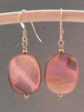 Vintage Oval Peachy-Pink Abalone Paua Shell 14ct Rolled Gold Earrings