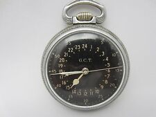 Hamilton Military Pocket Watch GCT 24 hour 22J 4992B WW2 Running Vintage 51 mm