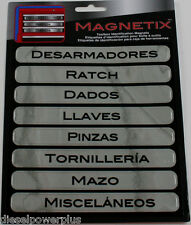 spanish tool box magnet label snap on craftsman matco ratchet socket wrench Mac