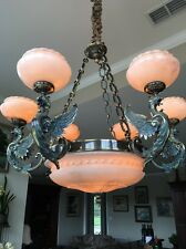 Fabulous Brass and Alabaster 6 Arm &  Pendant Chandelier New in box, free ship