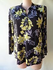 Millers size 18 blue black yellow floral print top long sleeves